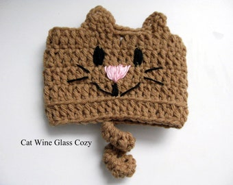 Cat Lovers Gift for Women, Cat Mom Lady Gift, Wine Cozy, Wine Glass Cover, Crochet Cozies Coozie Huggie