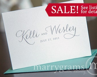 Custom Wedding Thank You Cards - Names & Date Bridal Shower Personalized Thank You Notes - Fancy, Pink, Purple, Lagoon, Navy (100 ct) CS01