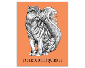 "Sabertooth Squirrel 8x10"" High Quality Color Print, Sabertooth Tiger + Squirrel Hybrid Animal, Wall Art, Office Décor, Whatif Creations"
