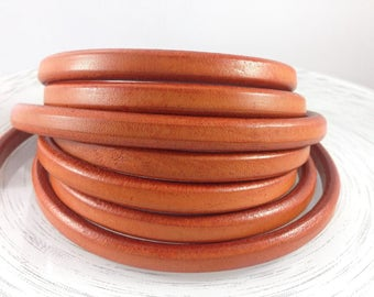 European licorice leather cord - 10mm x 6 mm - Orange leather - First quality Spanish thick leather to make fashion jewelry - Craft supplies