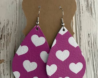 Fuchsia/Mauve leather earrings with white hearts | Valentine's Day gifts | gifts for her | nickle free