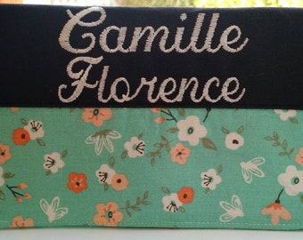 Protects health/personalized/embroidery/flowers coral Aqua