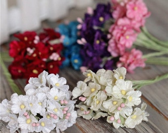 Bunch of 6 stems(30 flowers)-Miniature Millinery Forget Me Not Flower Bunch Velvet Flower Bridal Hair Accessories Crown,Wedding Home Decor