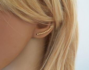 Gold ear cuff earrings, Ear vines, Ear climber earrings, Gold bar earrings, Bobby pin earring, minimalist earrings