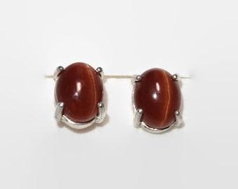 8x10 mm Brown Cats Eye Apatite Sterling Silver Stud Earrings