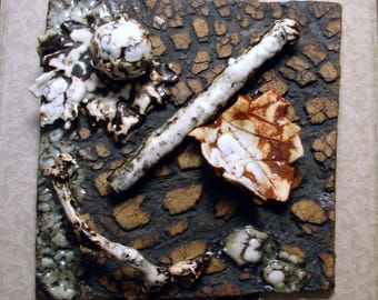 """Ceramic Wall Sculpture - Wall Hanging - Ceramic Tile - 8"""" x 8"""" in. - Forest Floor Tile - Handmade Pottery Stoneware"""