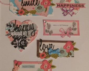 Handmade Pink themed embellishment pack