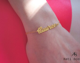 Personalized Name Bracelet or Anklet - Sterling Silver or Solid Gold: 10K, 14K or 18K (Yellow, Rose or White) - Celebrity Style Jewelry