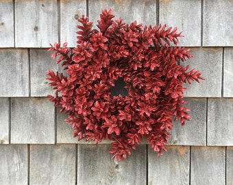 Barn Red Rustic Pinecone Wreath Made In Maine