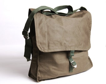 School bag military canvas messenger bag vintage school backpack army canvas bag soviet green crossbody bag back to school school supply