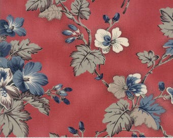 Sweet Blend Fabric - Moda Fabric - Half Yard - Floral Spring Sprouts Rosemary Pink Red Large Scale Print Laundry Basket Quilts 42290 14