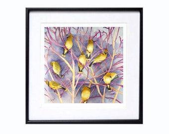 Wall Art Decor, Cedar Wax wing , Bird art prints, Watercolor birds, Bird illustration, Lavender, Wall art, Yellow, Living room, LaBerge