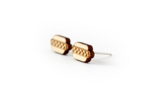Hot dog stud earrings - tiny hotdog posts - fast food jewelry - kitsch jewellery - lasercut maple wood - hypoallergenic surgical steel