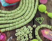 Green Bone Beads: Pistachio Speckled Heishi Spacer Beads, 10x2.5mm, Boho Bead Jewelry Making Supply, Necklace Bracelet Disc Bead, 75+ Pieces