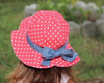 Polk Dots and Jean  Baby Hat,  Baby Girl Hat  ,Beach Hat, Red hat with White Polka Dots .