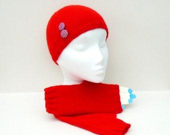 Hand Knit Winter Set, Knit Beanie Hat, Ladies Winter Wear, Fingerless Glove Set, Buttoned Beanie Hat, Wrist Warmer Set, Ladies Accessories,