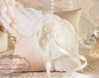 Ivory & Beige Wedding Ring Pillow, READY TO SHIP, Ivory ring pillow, Ring Bearer Pillow, Wedding Pillow, Wedding, Ring Cushion, wedding gift