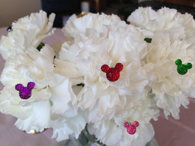 Disney Wedding Bouquets 4 Hidden Mickeys Floral Pins Bouquet Picks ...