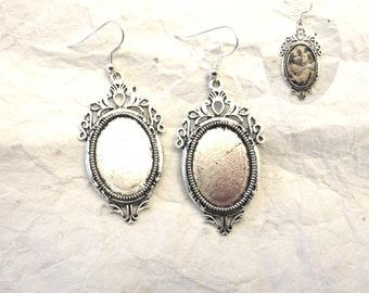 Silver earrings set antiqued ring 18 * 25 + rhinestones