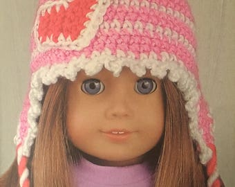 """Crocheted Valentine Hat for 18"""" Doll"""