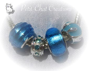 MIX 4 DONUT BEADS BLUE METAL CHARMS SILVER SNAKE CHAIN * D620