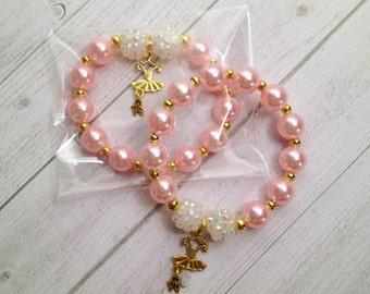 """8 -  Ballerina Tutu pink & gold Charm Bracelet Birthday Favor 6.25"""" Bracelet Ballerina Birthday Ballet Recital Gift Ballet"""