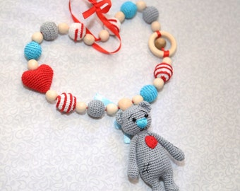 Teddy Bear necklace, Breastfeeding necklace, Baby teething necklace, Crochet nursing necklace, Wooden teething necklace,  Baby sling