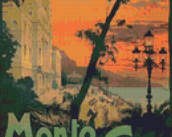 Vintage Monte Carlo Cross Stitch pattern travel poster PDF - Instant Download!