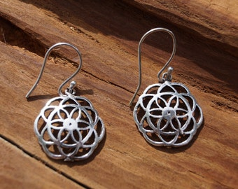 Curved Seed of Life Earrings Silver, Seed of Life Earring, Tiny Seed of Life