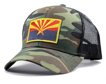 Homeland Tees Arizona Flag Hat - Army Camo Trucker