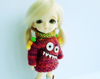 pdf knitting pattern - Mini monster sweater for Lati yellow doll.