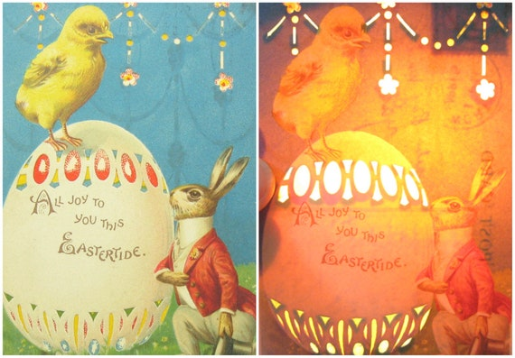 Easter Bunny Holiday Decor Antique Hold To Light Postcard Illuminated Greeting Spring Chick on Large Decorated Egg 1910s Novelty Collectible