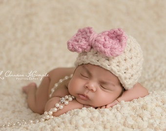 Cream Hat Pink Bow Newborn Photography Prop