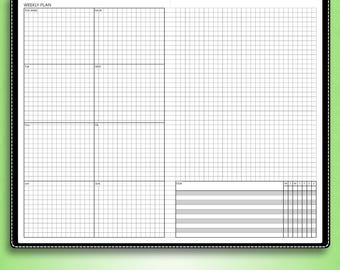 Undated WEEKLY planner, #U-WB1,S (wide inserts, wide travelers notebook printable, wide tn inserts, cahier printable inserts)