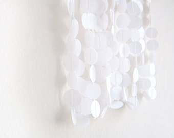 White Wedding Decor / White Circle Garland / Circle Garland Adjustable Hand Sewn Decor / Backdrop Photo Prop