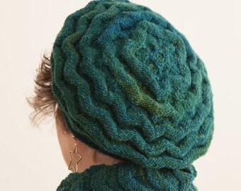 Beret, tam, hat knitting pattern, pdf, knitted beret pattern, knitted tam pattern, women's beret knitting pattern, Welted Waves Hat Pattern