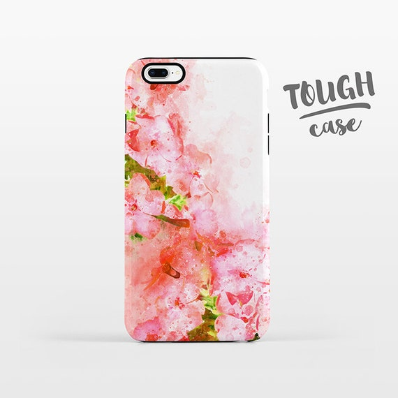 Watercolor Floral iPhone Case iPhone 8 Plus Case iPhone X Case iPhone 7 Case iPhone 8 Case iPhone 6 Plus Case 6s 5s 5c 5 4 Coral Pink Flower
