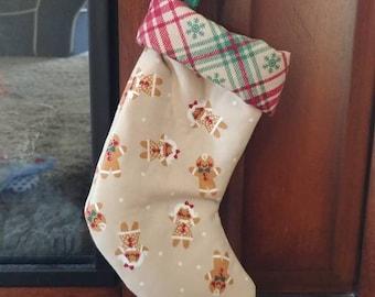 Gingerbread and Plaid Mini Christmas Stocking