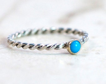 Turquoise Stacking Delicate Ring, 14K Gold Bezel Stacking Ring, Sterling Silver Twisted Band, Sleeping Beauty Turquoise Ring, Made to Order
