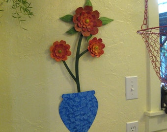 Metal Wall Art Flower Sculpture Large Metal Camellia Blue Vase Recycled Metal Kitchen Wall Decor Red Orange 13 x 24