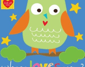 Owl Who Loves You? Childrens Studio E Fabric soft Book Panel