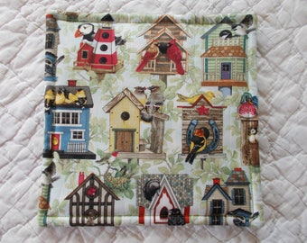 Bird Houses Quilted Hot Pad /Pot Holder/mini quilt