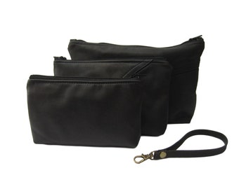 BELLA Zippered Black Leather Pouch Trio