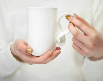 Mobius big mug white excellent gift, handmade porcelain