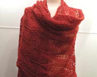 Red lace hand knitted stole shawl