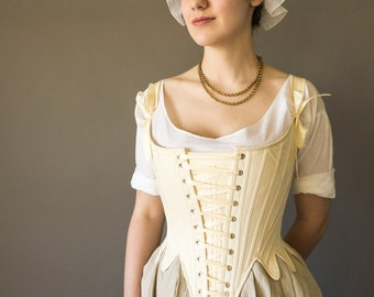 Front Lacing Stays 1780's Georgian Corset in Synthetic Whalebone 18th Century - In Stock & Ready to Ship PLUS SIZES