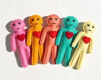 Mini Voodoo Doll, Custom made to order, hand sewn OOAK, creepy cute dolls, fun gag gift, novelty gift, as Seen in Boston Globe