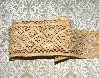 """Antiqued Lace 2"""" Wide, Ribbon, Trim, Scrapbook, Embellishment, Vintage, French Country, Distressed, Rustic, Shabby Chic, Wedding #7"""
