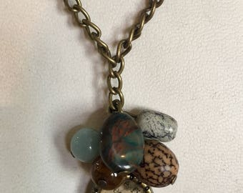 Resin and mineral necklace