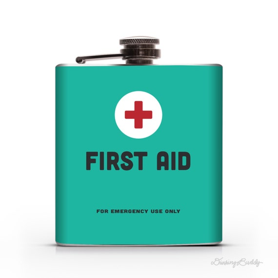 First Aid- 6oz or 8oz Liquid Hip Flask